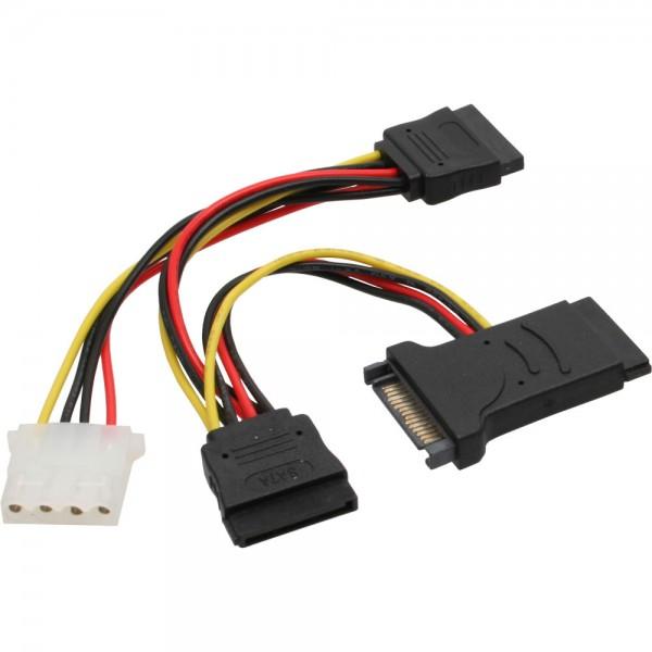 InLine® SATA Stromadapterkabel, SATA Stecker / Buchse, an 2x SATA Stecker + 5,25 Stecker
