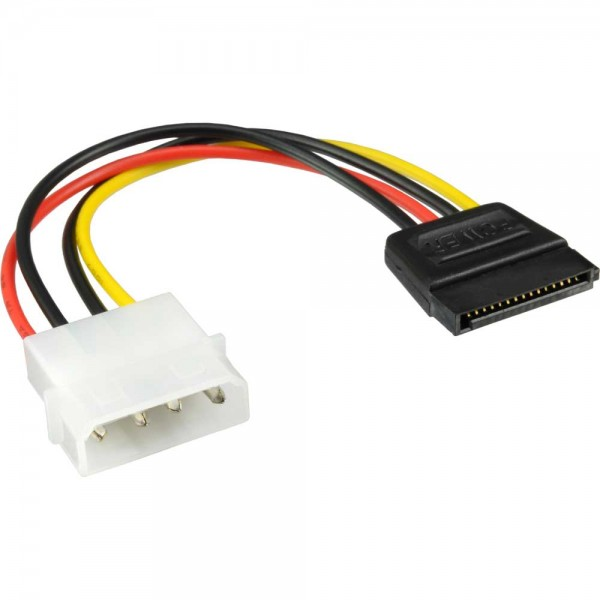 "InLine® SATA Stromadapterkabel, 1x 13,34cm (5,25"") Buchse an 15pol SATA Stecker, 0,15m"