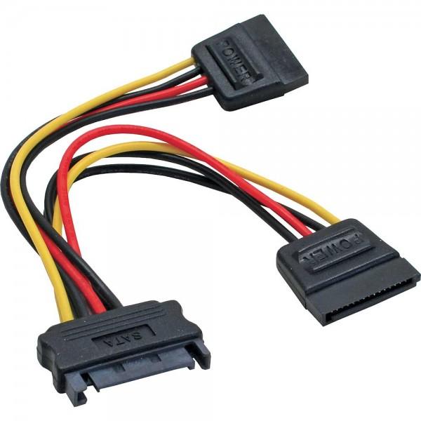 InLine® SATA Strom-Y-Kabel, SATA Buchse an 2x SATA Stecker, 0,15m