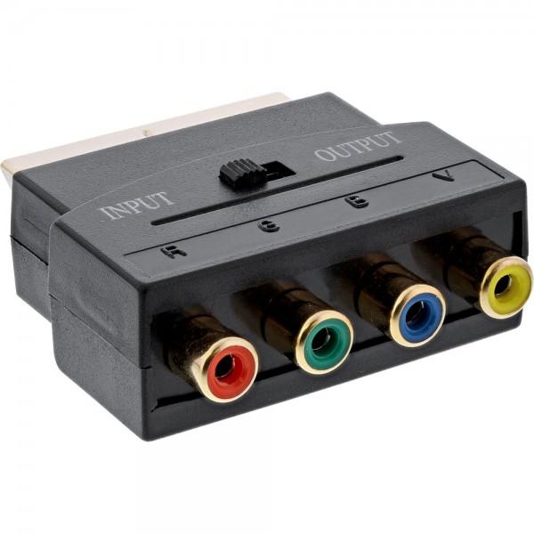 InLine® Scart Adapter, Scart Stecker an 4x Cinch Buchse (RGB+Composite)