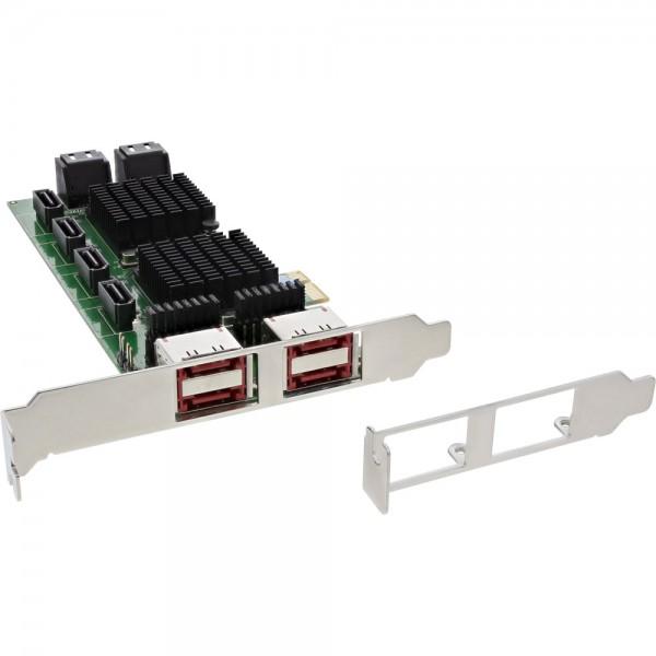 InLine® Schnittstellenkarte, 8x SATA 6Gb/s, mit 8x SATA + 4x eSATA, PCIe 2.0 (PCI-Express)