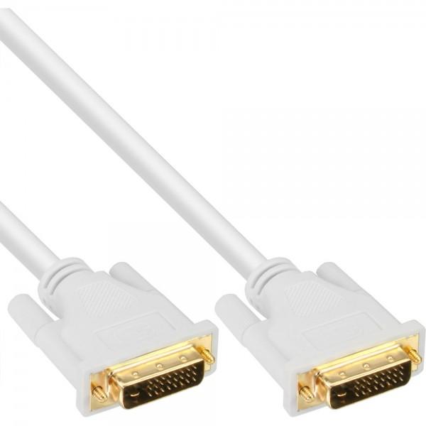InLine® DVI-D Kabel, digital 24+1 Stecker / Stecker, Dual Link, weiß / gold, 5m