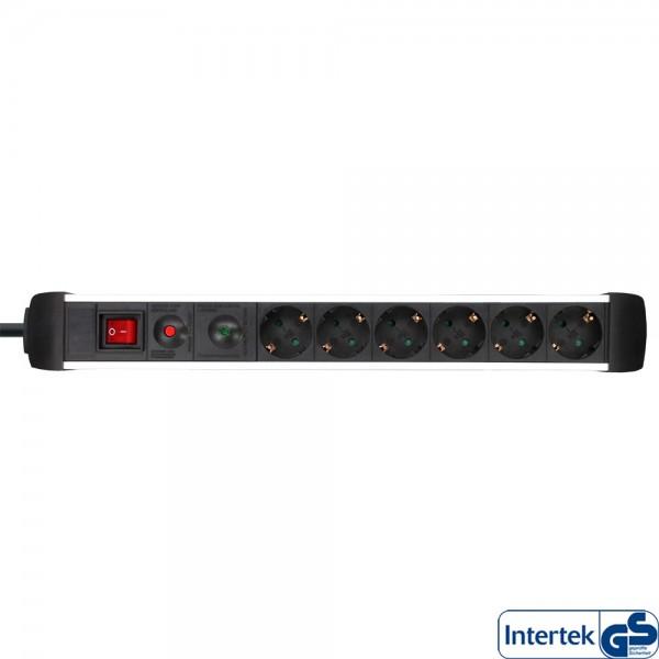 InLine® Steckdosenleiste, Alu, 6-fach Schutzkontakt, mit Überlast- und Überspannungsschutz, mit Scha