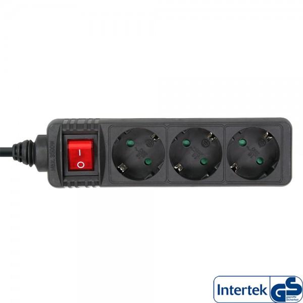 InLine® Steckdosenleiste, 3-fach Schutzkontakt, mit Schalter, 3m, schwarz