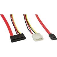 InLine' SATA Anschlusskabel, mit Daten- und Stromanschluss, 50+15cm