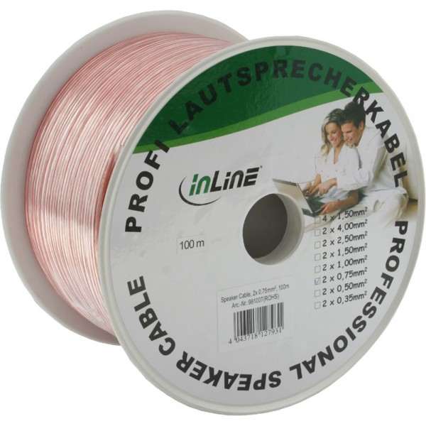 InLine® Lautsprecherkabel, 2x 0,75mm², CCA, transparent, 100m