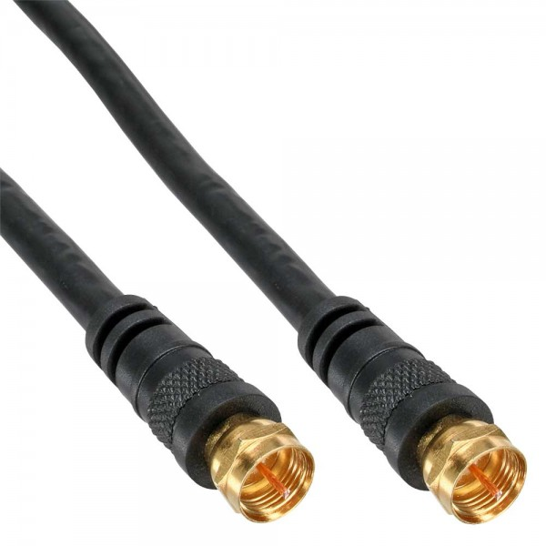 InLine® SAT-Anschlusskabel, 2x geschirmt, 2x F-Stecker, >85dB, schwarz, 0,5m