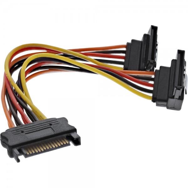 InLine® SATA Strom-Y-Kabel, SATA Buchse an 2x SATA Stecker gewinkelt, mit Sicherheitslaschen, 0,15m