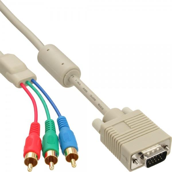 InLine® VGA RGB Kabel, VGA Stecker an 3x Cinch Stecker, 1m