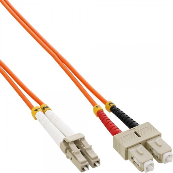 InLine® LWL Duplex Kabel, LC/SC, 50/125µm, OM2, 25m