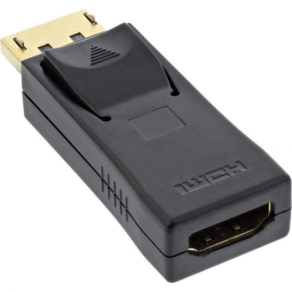 InLine® DisplayPort Adapter, DisplayPort Stecker auf HDMI Buchse, 4K2K, mit Audio, schwarz