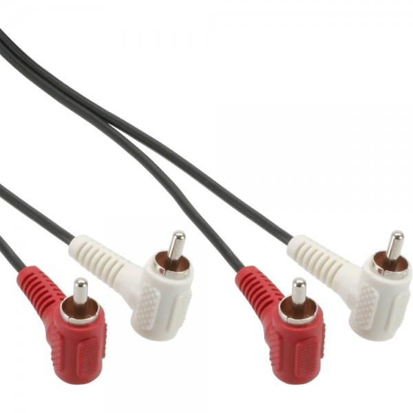 InLine® Cinch Kabel, 2x Cinch, Stecker / Stecker gewinkelt, 1,2m