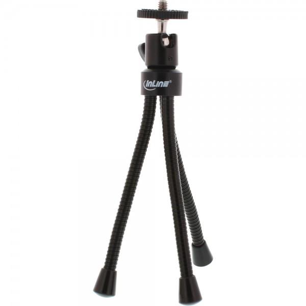 InLine® Mini-Stativ 190mm mit Kugelkopf, flexible schwarze Metallfüße mit Gummikappen