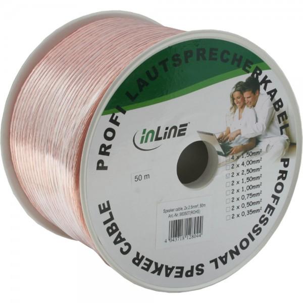 InLine® Lautsprecherkabel, 2x 2,5mm², CCA, transparent, 50m