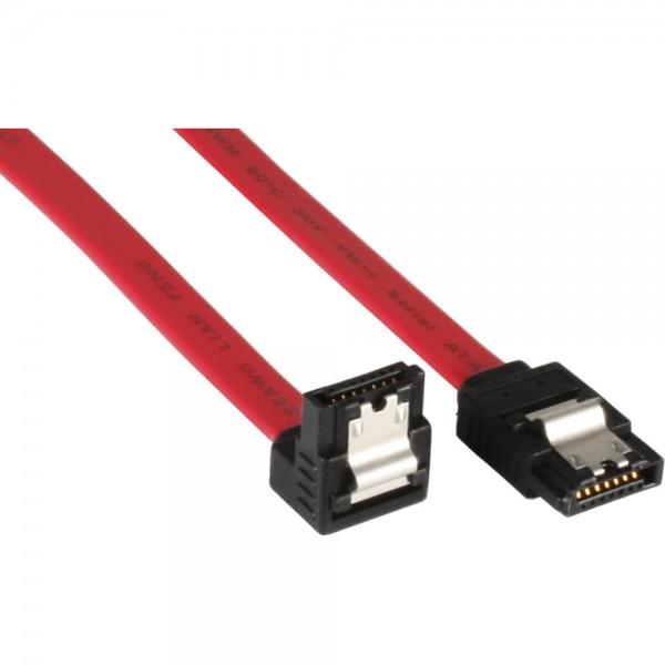 InLine® SATA Anschlusskabel abgewinkelt, mit Sicherheitslasche, 0,7m
