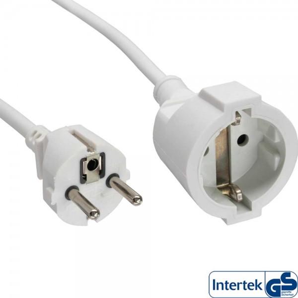 InLine® Strom-Verlängerung Schutzkontakt Stecker / Buchse, weiß, 2m