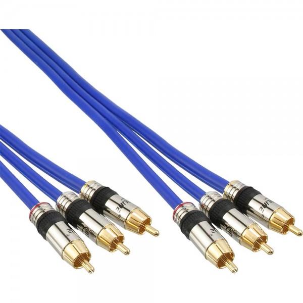 InLine® Cinch Kabel AUDIO/VIDEO, PREMIUM, vergoldete Stecker, 3x Cinch Stecker / Stecker, 3m