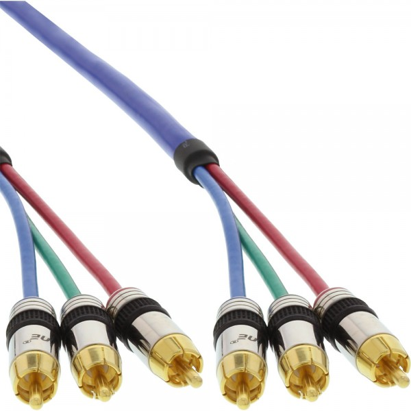 InLine® Cinch Kabel RGB VIDEO, PREMIUM, vergoldete Stecker, 3x Cinch Stecker / Stecker, 3m