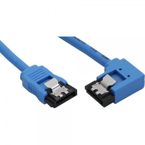 InLine® SATA 6Gb/s Anschlusskabel rund, abgewinkelt rechts, blau, mit Lasche, 0,5m