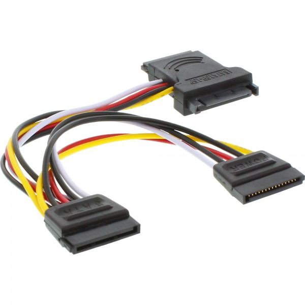 InLine® SATA Stromadapterkabel, SATA Stecker / Buchse, an 2x SATA Stecker, 0,15m