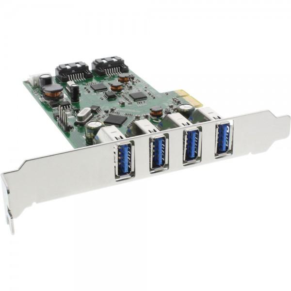 InLine® Schnittstellenkarte, 4x USB 3.0 + 2x SATA 6Gb/s, PCIe, inkl. Low-Profile Slotblech