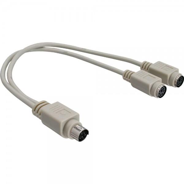 InLine® PS/2 Y-Kabel, Maus+Tastatur an Notebook
