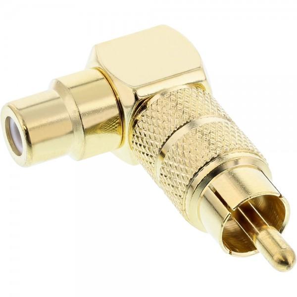 InLine® Audio Adapter, Cinch Stecker / Buchse, 90° gewinkelt, vergoldet