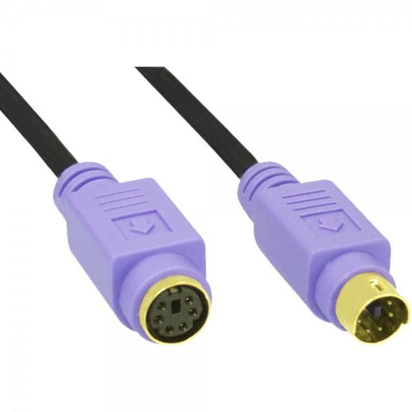 InLine® PS/2 Verlängerung, Stecker / Buchse, PC99, Kabel schwarz, Stecker violett, Kontakte gold, 5m