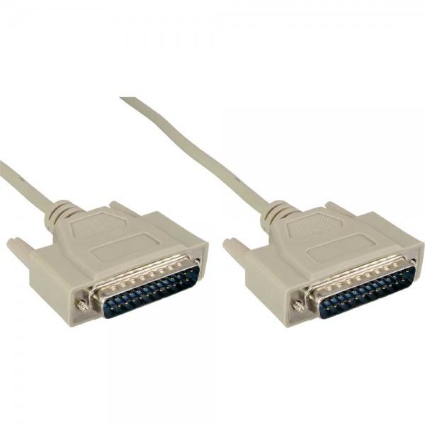 InLine® Serielles Kabel, 25pol Stecker / Stecker, vergossen, 1:1 belegt, 2m