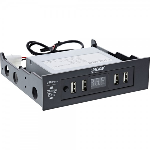 InLine® USB Powerpanel Hub, Frontpanel mit 4 USB Ports und Display