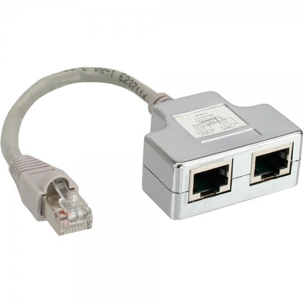 InLine® ISDN Port-Doppler, 1x RJ45 Stecker an 2x RJ45 Buchse, mit Kabel