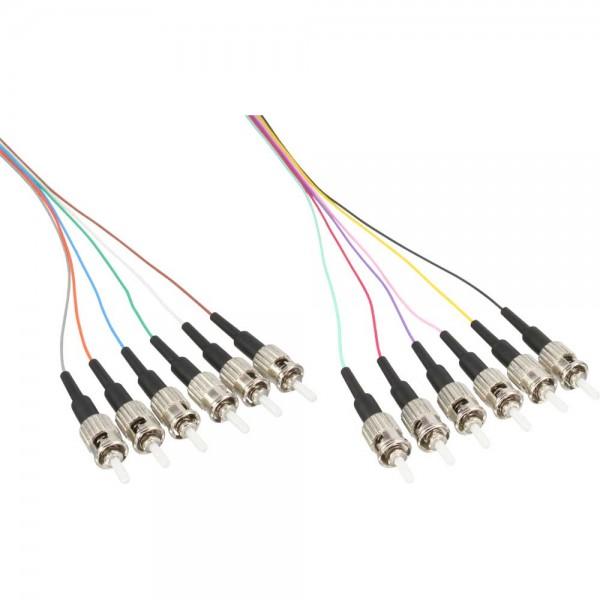 12er Set InLine® LWL Pigtail, ST 50/125µm, OM2, 2m