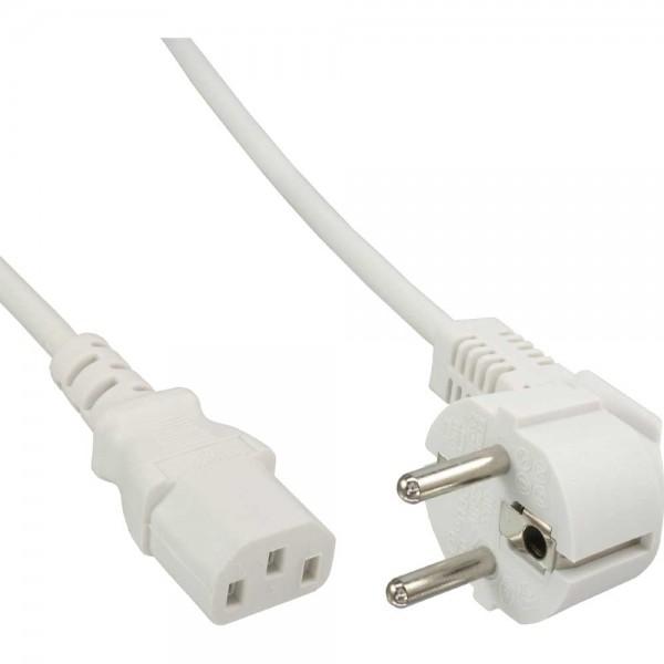 InLine® Netzkabel, Schutzkontakt gewinkelt auf Kaltgerätestecker C13, 5m, weiß