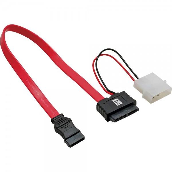 """InLine® SATA Stromadapterkabel, 1x SATA + 1x 13,34cm (5,25"""") Buchse an 7+6 SlimSATA Buchse, 0,3+0,15"""