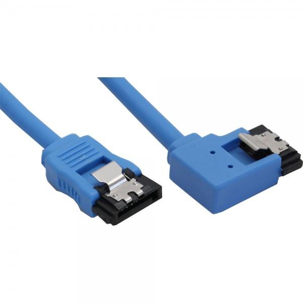 InLine® SATA 6Gb/s Anschlusskabel rund, abgewinkelt links, blau, mit Lasche, 0,3m