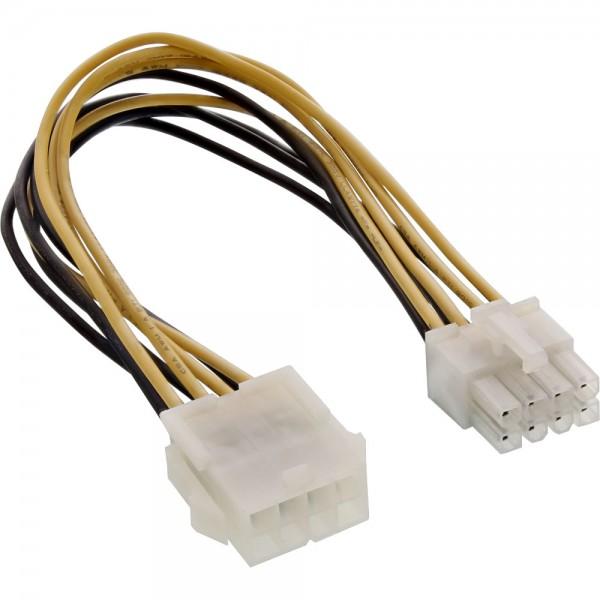 InLine® Strom Verlängerung intern, Netzteil zu Mainboard 8pol. Stecker / Buchse, 0,2m
