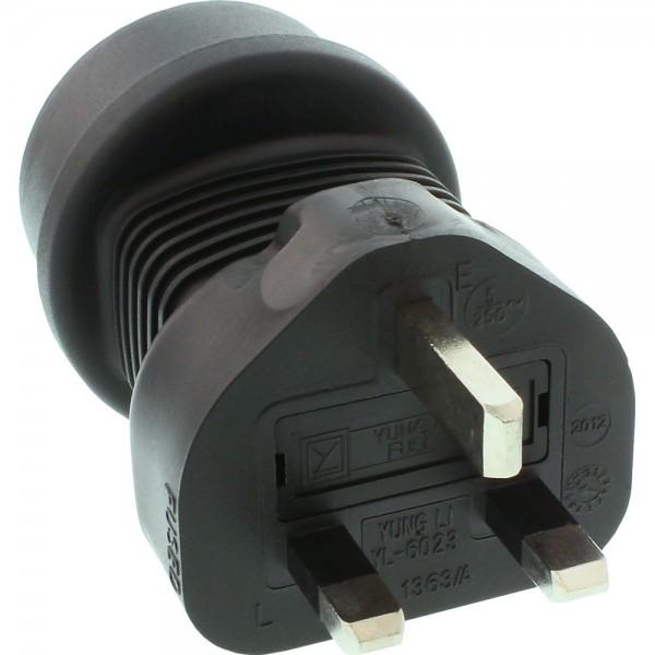 InLine® Reisedapter, England/Malta Stecker auf Schutzkontakt Buchse, 5 Ampere
