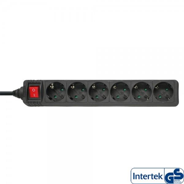 InLine® Steckdosenleiste, 6-fach Schutzkontakt, mit Schalter, 1,5m, schwarz