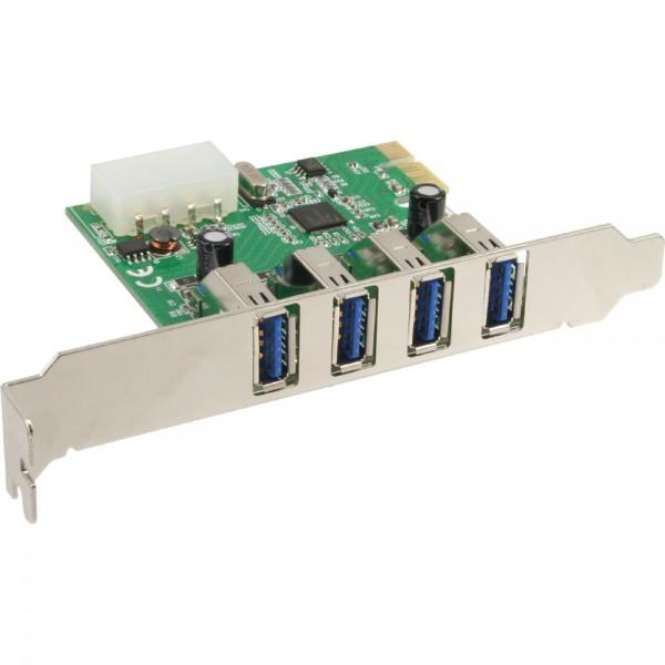 InLine® Schnittstellenkarte, 4x USB 3.0, PCIe, inkl. Low-Profile Slotblech