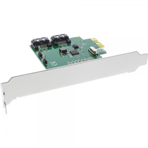 InLine® Schnittstellenkarte, 2-fach SATA 6Gb/s, x1 PCIe 2.0, RAID 0/1/SPAN, mit Low-Profile Slotblec