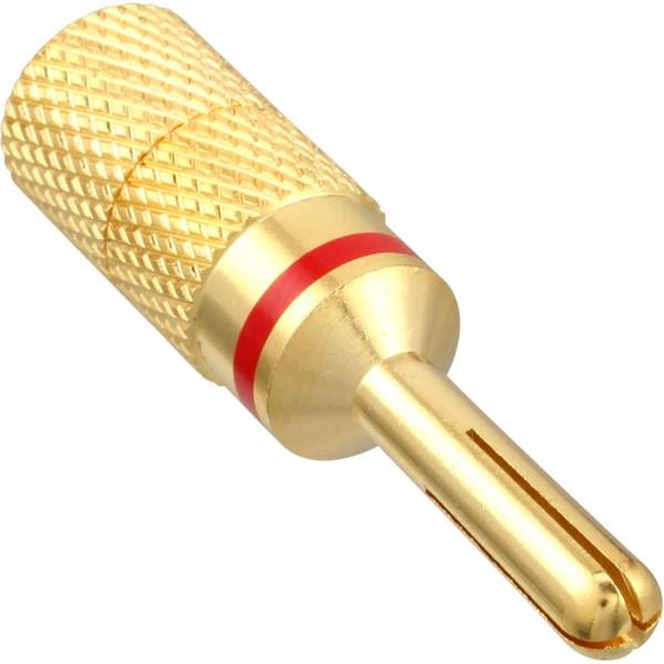 InLine® Bananen Stecker, Schraubversion, Metall, vergoldet, 1 roter Ring, bulk