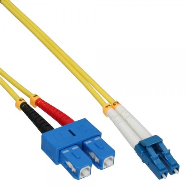 InLine® LWL Duplex Kabel, LC/SC, 9/125µm, OS2, 3m