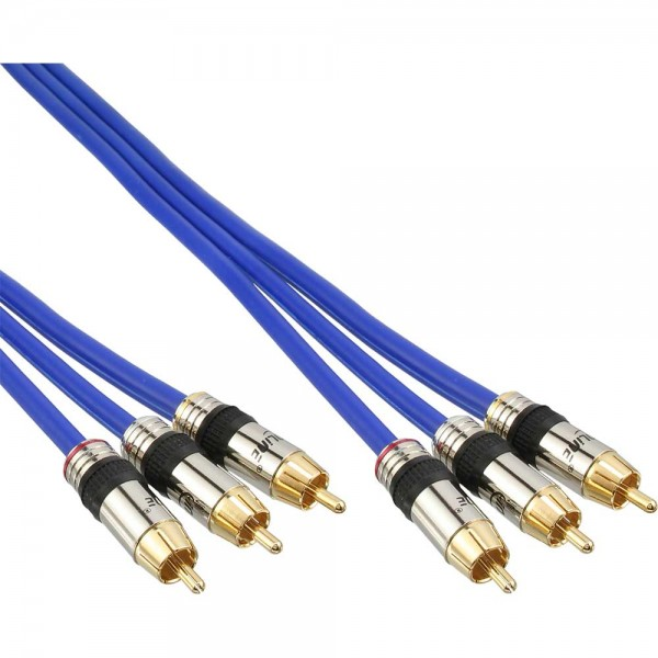InLine® Cinch Kabel AUDIO/VIDEO, PREMIUM, vergoldete Stecker, 3x Cinch Stecker / Stecker, 0,5m