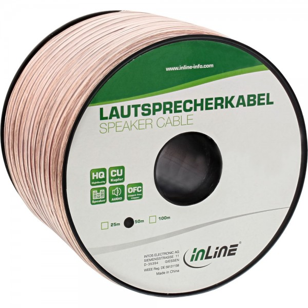 InLine® Lautsprecherkabel, 2x 4mm², CU, transparent, 50m