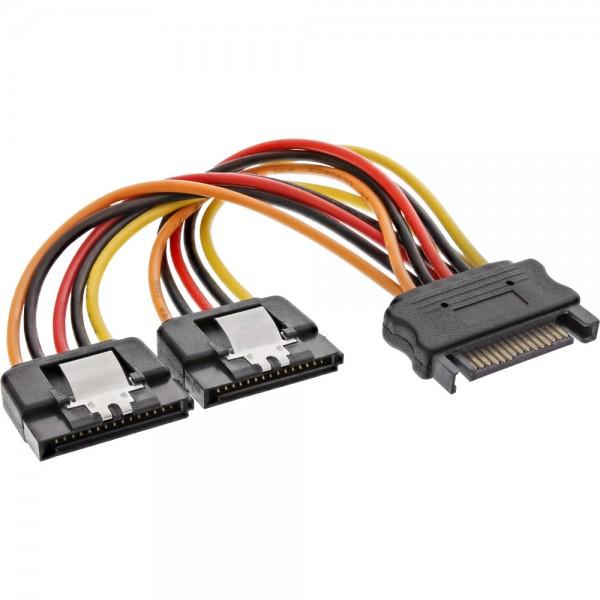 InLine® SATA Strom-Y-Kabel, SATA Buchse an 2x SATA Stecker mit Sicherheitslasche, 0,15m