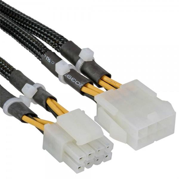 InLine® Strom Verlängerung intern, 2x4pol Stecker zu 8pol Buchse, Mainboard, 0,3m