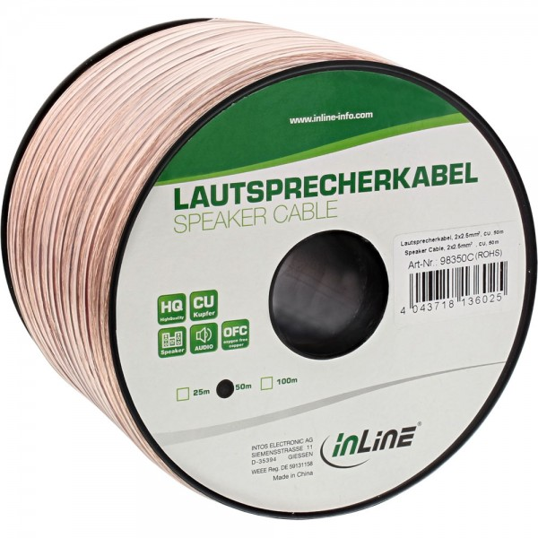 InLine® Lautsprecherkabel, 2x 2,5mm², CU, transparent, 50m