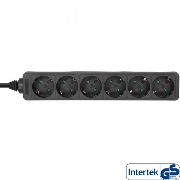 InLine® Steckdosenleiste, 6-fach Schutzkontakt, 3m, schwarz