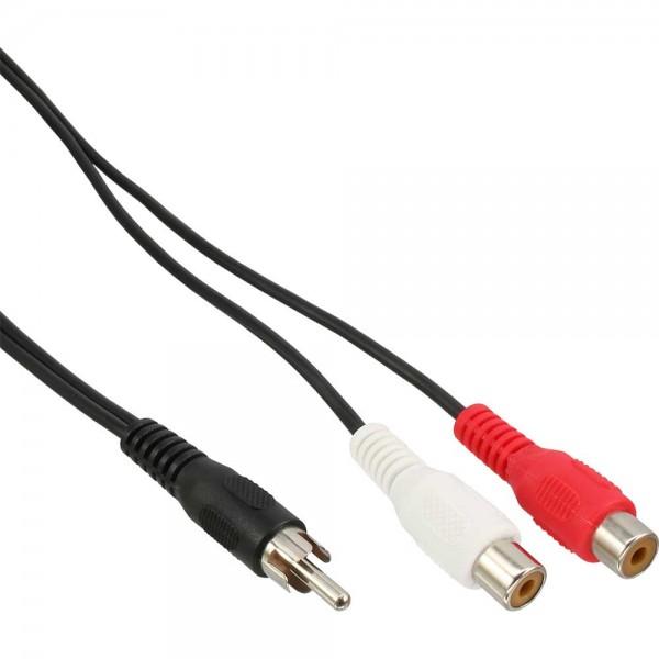InLine® Cinch-Y-Kabel, 1x Cinch Stecker zu 2x Cinch Buchse, 0,2m