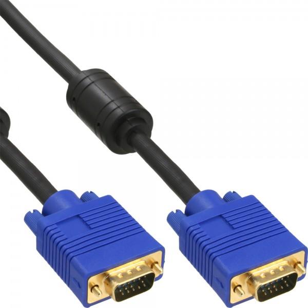 InLine® S-VGA Kabel Premium, 15pol HD Stecker / Stecker, schwarz, 0,3m